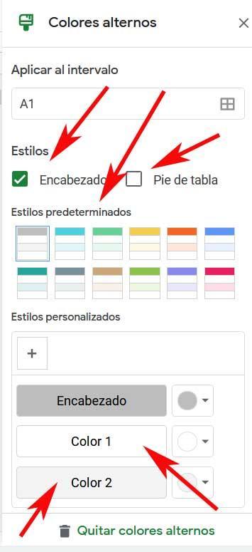 menu di colori alternativi